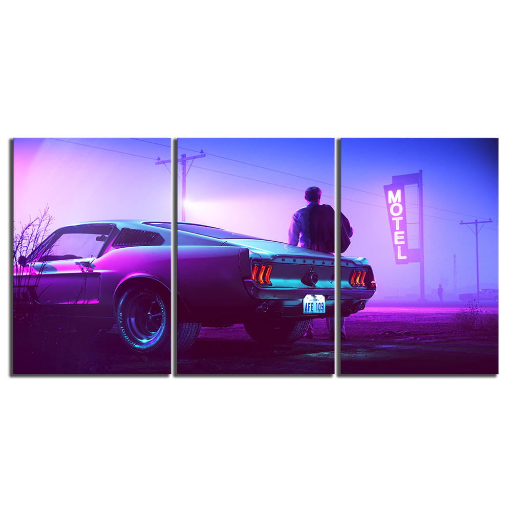 Canvas Art Movie Mountain Top Car Drive Ford Mustang Men Vehicle Motel Painting Wall Art Home Decor 3