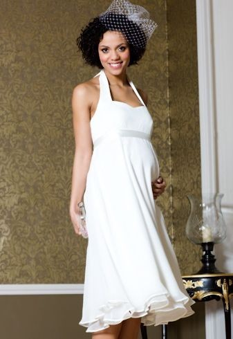 New Arrival Wedding Dress Halter Chiffon Removable Straps Maternity Formal Gowns Knee-Length Empire Waist Bridal Dress ZX1205