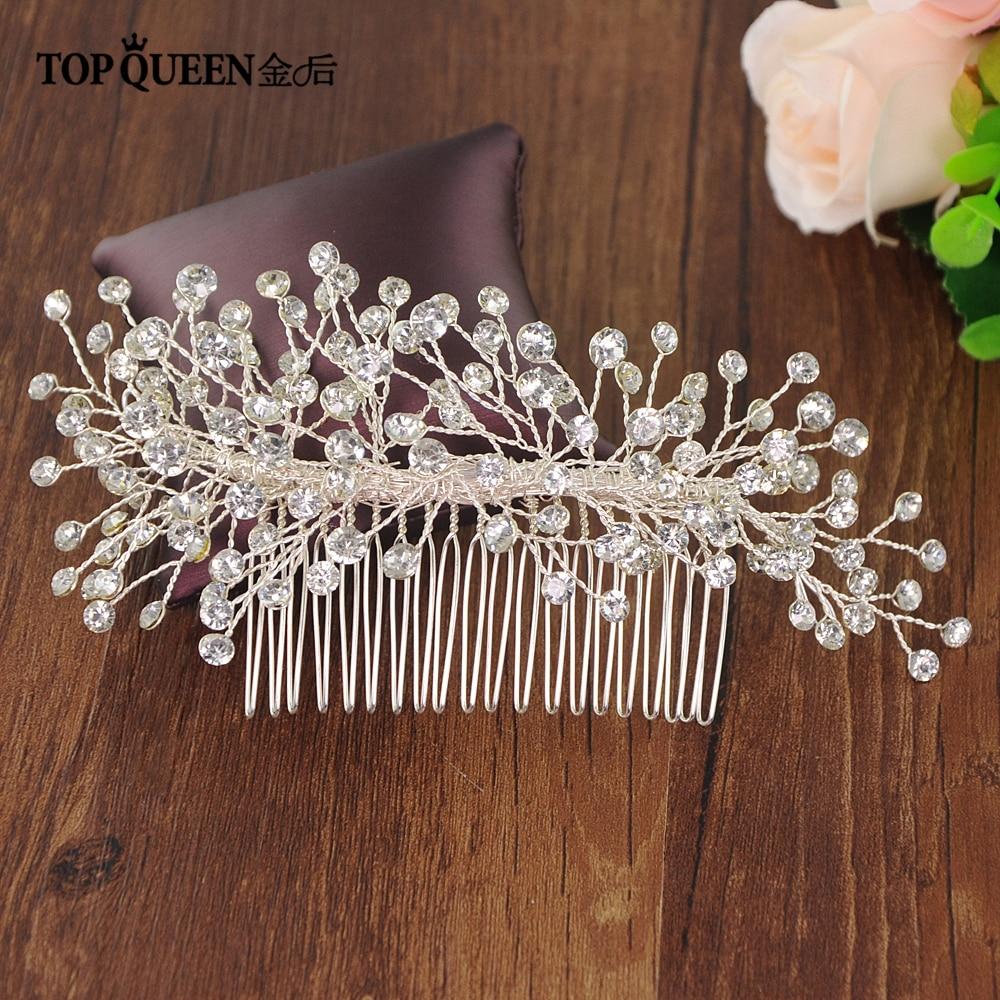 TOPQUEEN HP192 Wedding Tiara Wedding Hair Combs Bride Hair Jewelry Handmade By Crystal Wedding Hair Accessories Bridal Tiara