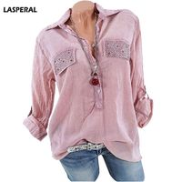 LASPERAL 2018 Fashion Women Shirt Turn Down Collar Buttons Crystal Casual Work Blouse Women Tops Long