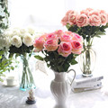 9 PCS Frete grátis Rose planta veludo simulação rosas artificiais decoração de casa flores fontes do casamento
