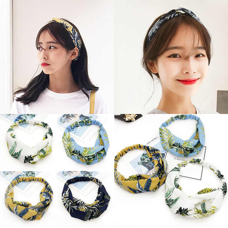 New Arrival 1pc Exquisite Bohemian Ethnic Chiffon Hairband Flower Print Fabric Cross Turban Elastic Headband