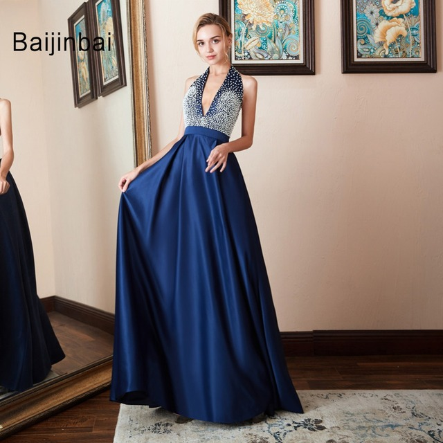 vestido Prom Dresses 2019 Halter Backless Beads Crystal Party Gowns Sleeveless Satin Party Dress