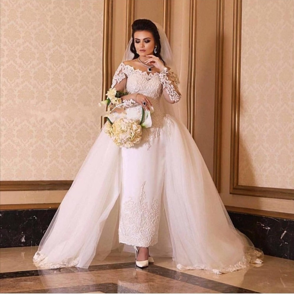 Elegant White Wedding Dresses Long Sleeve Boat Neck Off The Shoulder Wedding Gowns vestidos de noiva Wedding Party Dresses Gowns
