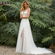 Waulizane Tulle And Stain Side Cut Sheath Wedding Dress With Button Closure Elegant Gown Natural Waistline