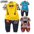 2016 Outono Crianças conjunto de roupas de Bebê menino t-shirt Longo Sleev gravata borboleta Criança Set Roupas Meninos Crianças meninos roupas Colete calças