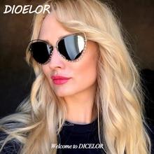 DICELOR Brand 2017 Newest Sunglasses Women High Quality Crystal Side Frame Cat Eye Colored Sunglasses Women Brand Designer