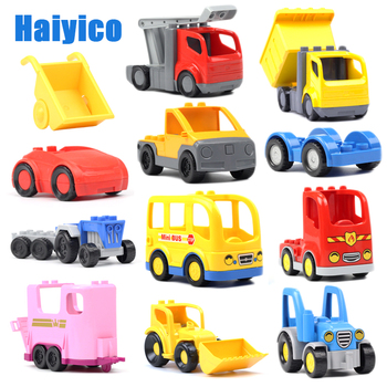 Big building blocks Vehicle Transport accessories Engineering Roadster bus compatible Duplos tractor car model children Toy gift цена 2017