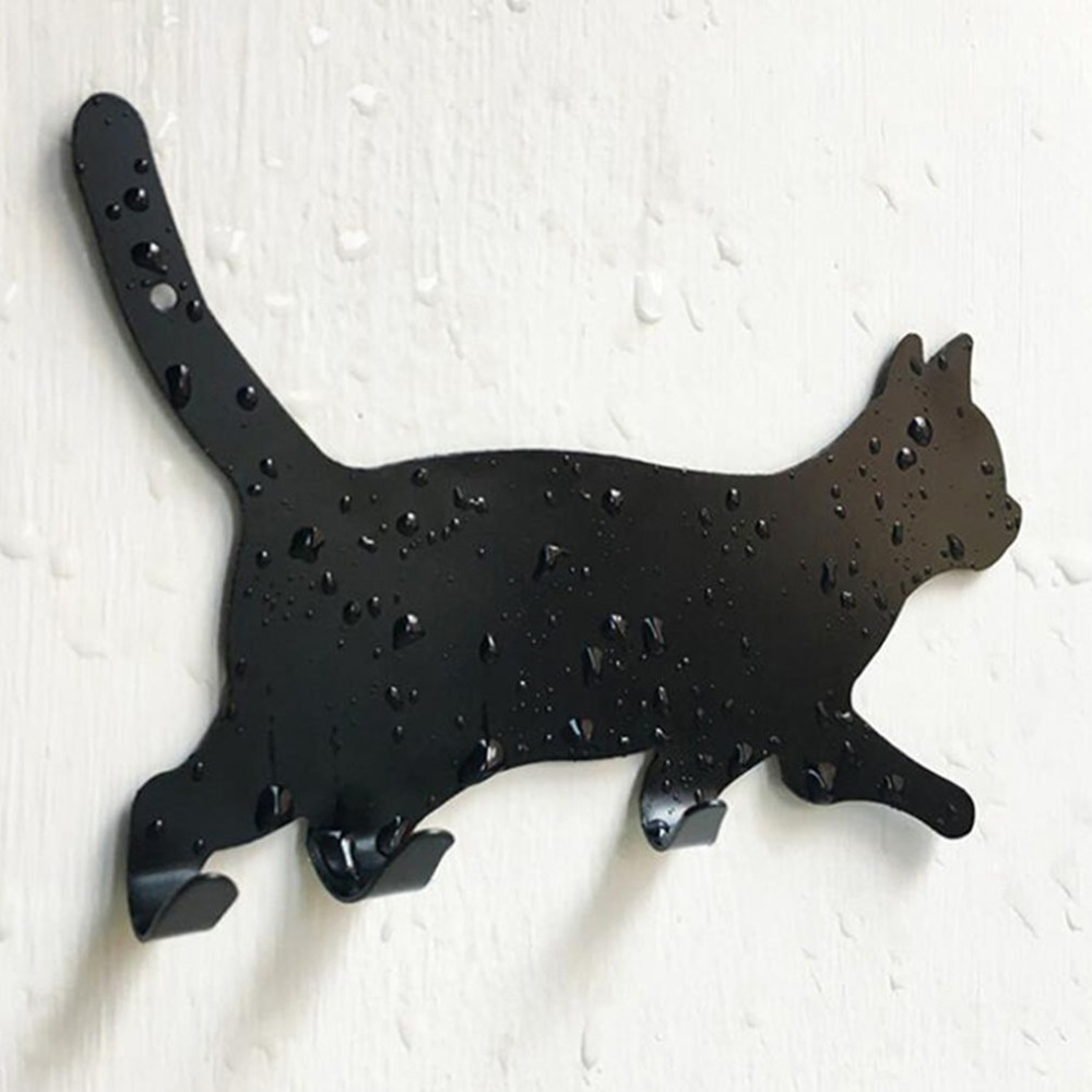 Kitchen Wall Door Metal Hook Key Hanger Cat Tail Shaped Decorative Holder Clothes Storage Rack Seamless Hook Tool Accessories