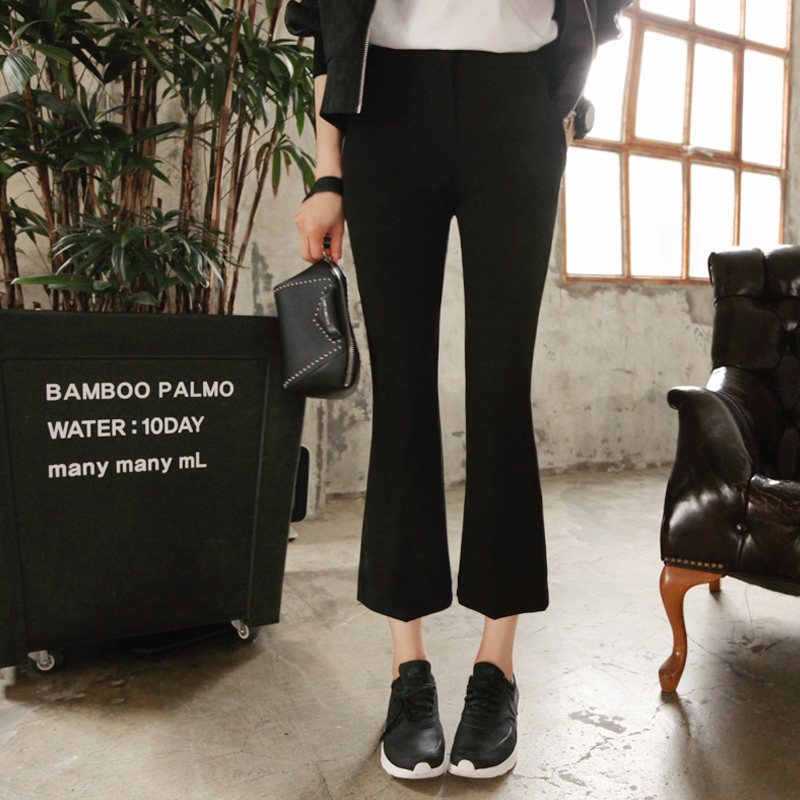 2019 Spring High Waist Retro Microhorn Trousers Female Korean Version Apparent Thin Women Wide Leg Harem Pants in Pants amp Capris from Women 39 s Clothing