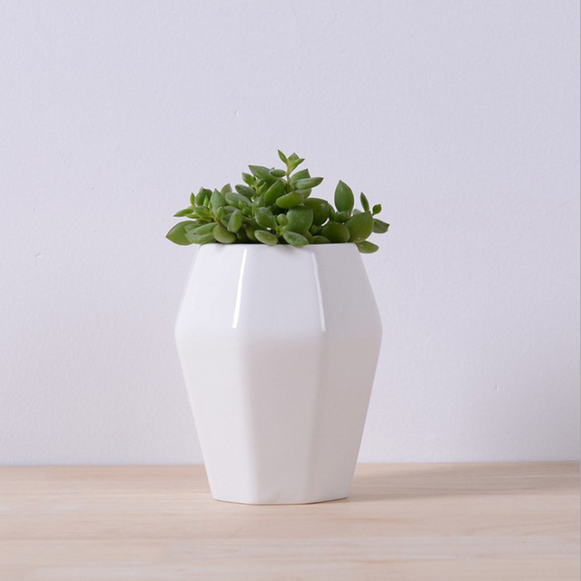Gardening White Ceramic Flower Pots Nursery Home Office Decor Plants Octagon Bonsai Planter Pot