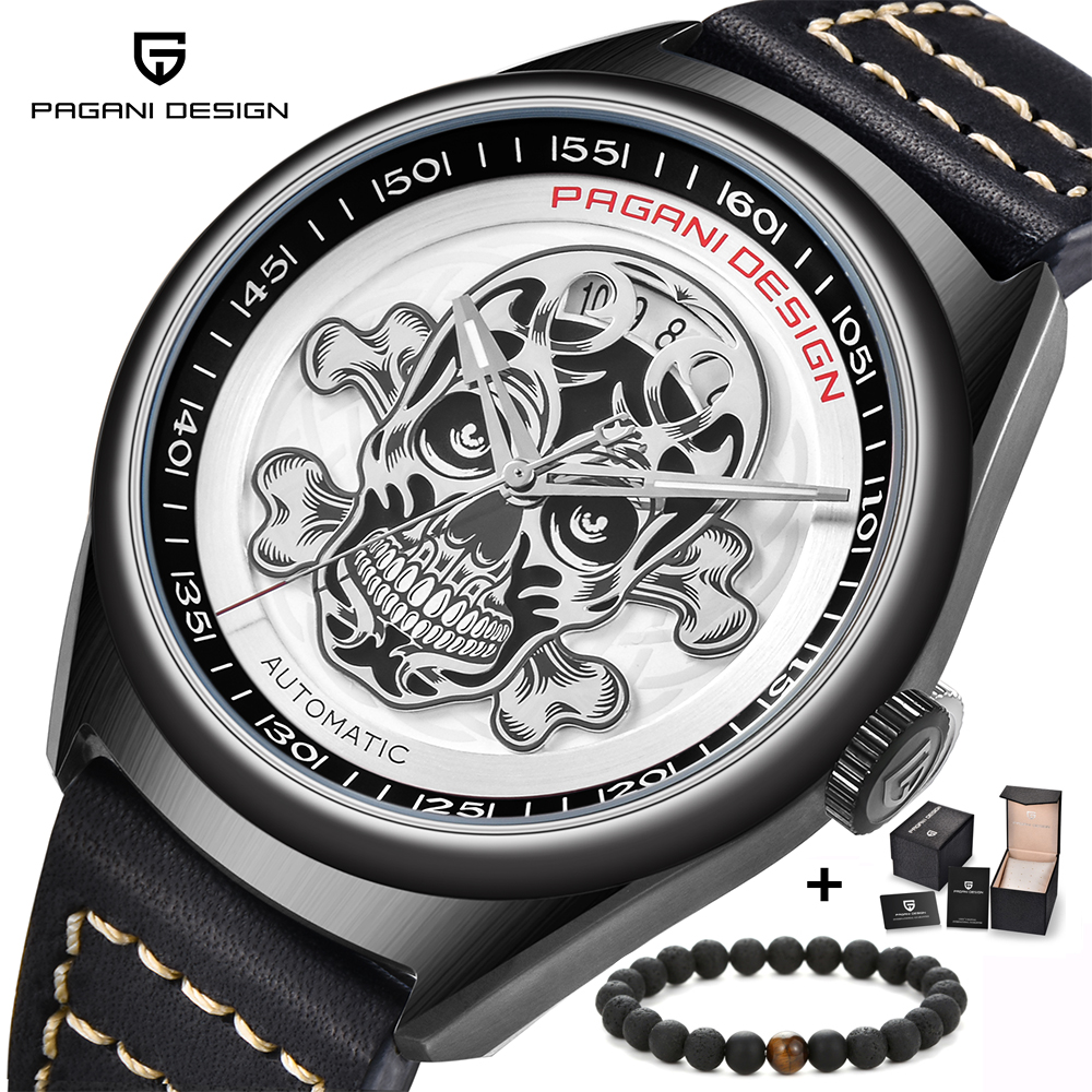PAGANI DESIGN Top Brand Fashion Men's Mechanical Watch Retro Automatic Skeleton Steampunk Leather Watches relogio masculino