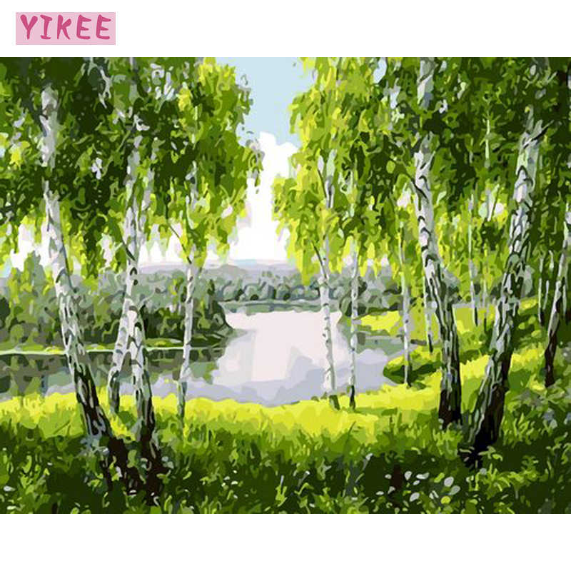 digital oil painting,canvas decoration,painting by numbers trees,decoration for living room