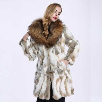 2016 Autumn and Winter Raccoon Fur Collar Rabbit Fur Coat Women's Long Fur Outwear BE-1645 Free Shipping 3