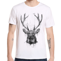2018 Fashion Deer Men Print T Shirts Mens Casual Short Sleeve Summer Clothing Hipster O Neck