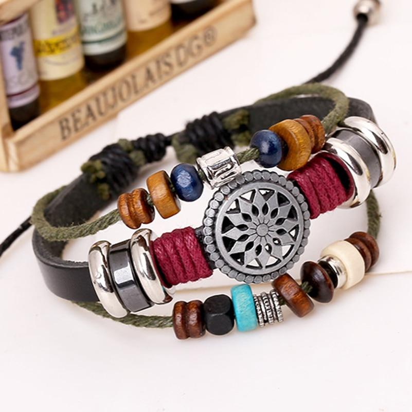 Black Leather Dark Green Wood Bracelet
