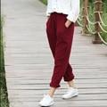 Women Casual Cotton Linen Pencel Pants 2016 Autumn Solid Color Elastic Waist Loose Trousers Pockets Vintage Simple