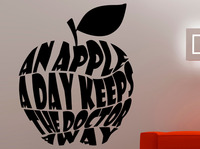 An Apple A Day Keep Doctor Away Fitness Wall Decal Sports Stickers Healthy Lifestyle Decals Fitness Quote Gym Interior Wall Art