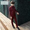Niños traje de chaqueta 7 pc/set niño bebé chaleco y pantalón negro blanco ESCUDO Chaqueta de La camisa Niños De La Boda Esmoquin Desgaste Set de Vino Rojo 2017 nueva