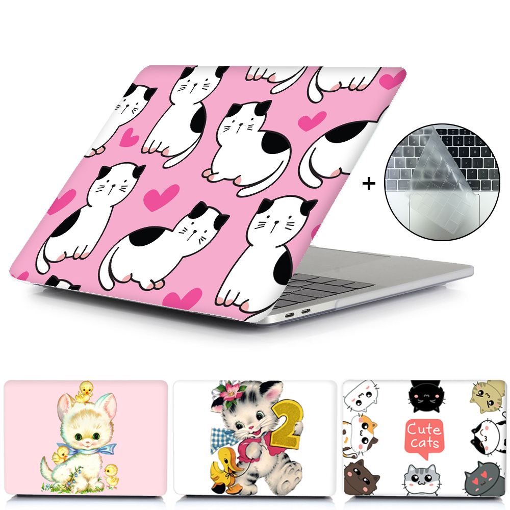 Cute Cat Laptop Case For Apple MacBook Touch ID A1932,Air Pro Retina 11 12 13 15 For Mac Book Pro 13.3 Touch Bar+ Keyboard Cover