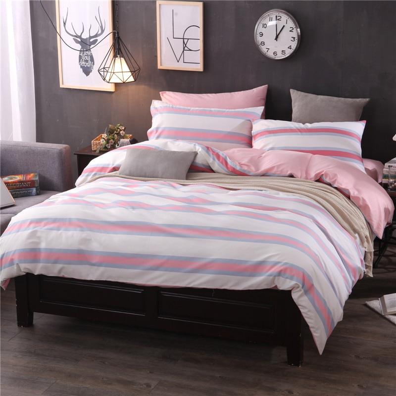 2018 cotton bedding set 4pcs stripe checkered duvet cover bed sheets fashion princess bed linen home textiles drap de lit
