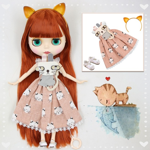 factory blyth doll red brown hair with bangs matte face joint body kitty headband dress shoes combination 1/6 30cm