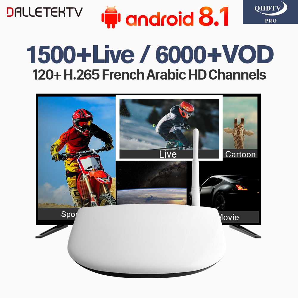 Arabic IPTV Box Dalletektv Smart Android 8.1 TV Box 1 Year QHDTV Pro Code 1500 Live Abonnement France Europe Arabic IPTV Top Box wechip v7 android tv box 7 1 5000 live iptv nordic arabic france europe netherland portugal usa brazil asia smart tv iptv box