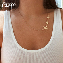 CUTEECO Peace Pigeon Choker Necklace For Women Gold Silver Color Chain Necklaces Boho Clavicle Fashion Colar Jewelry