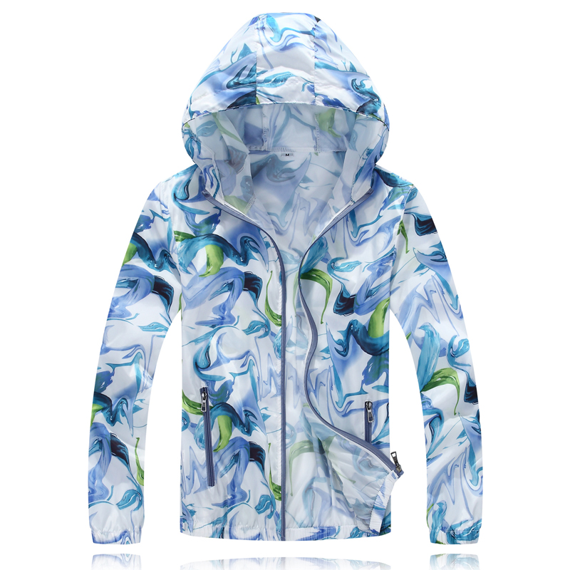 Running-Jackets Hooded-Cardigan Sun-Protection Print One-Piece Quick-Dry Gradient