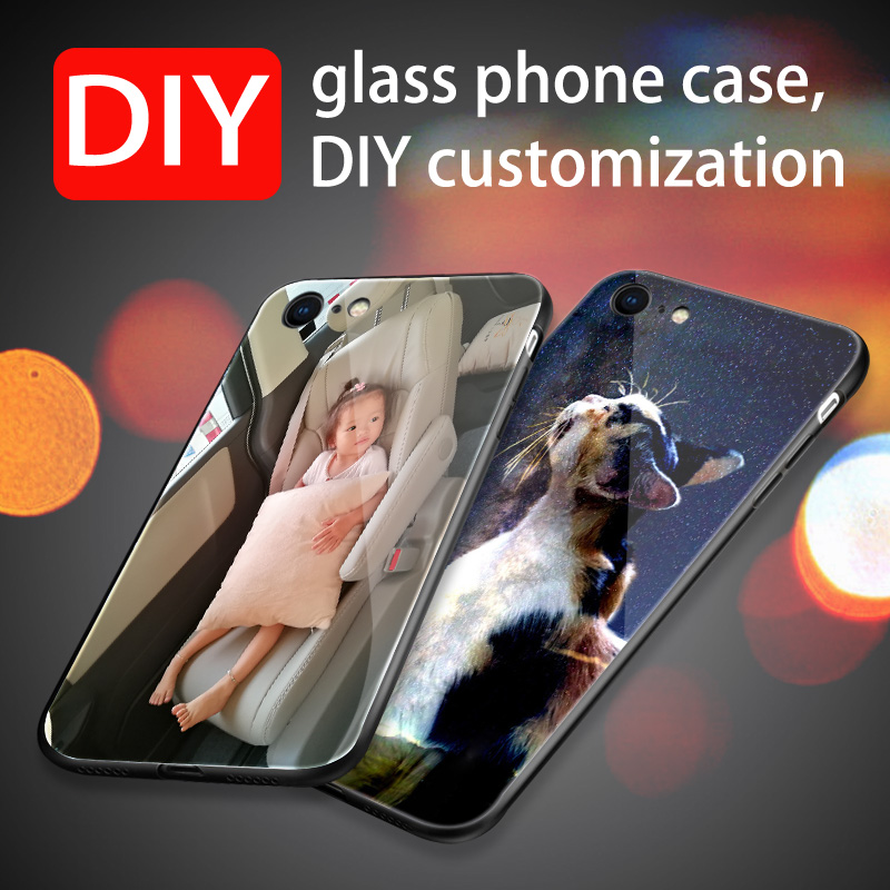 case on hayon 6 DIY Glass for iPhone 7 8 Plus Customized Photo Silicon Case For X XS max XR tempered glass Cover