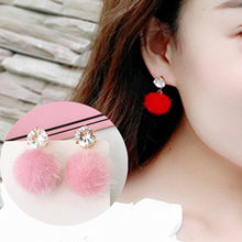 New Temperament Short Stud Earrings Personalized Wild Simple Bobo Ball Female Models Earrings For Women Jewelry brincos bijoux(China)