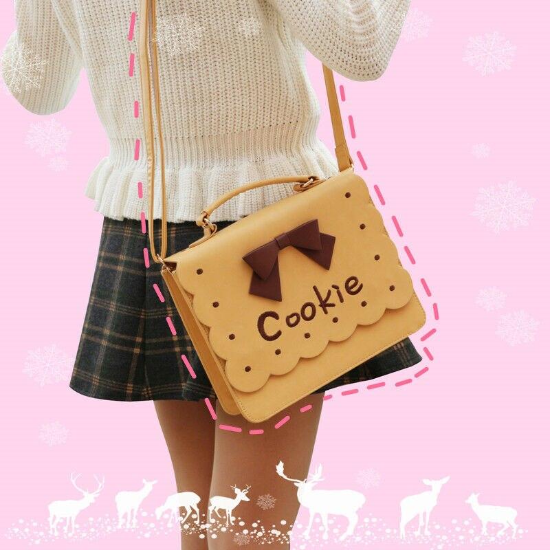 Sweet Lolita Small Fresh Cookies Embroidery Crossbody Bag Harajuku Girl Kawaii Bow Handbag Shoulder Bag Pink+Brown Uniform Bag