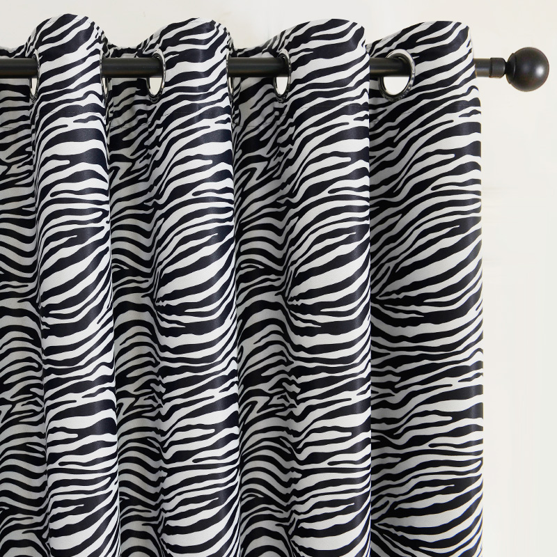 Topfinel Black And White Zebra Print Curtain For Living