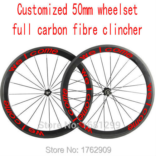 New customized 700C 50mm clincher rims road bicycle aero 3K UD 12K full carbon fibre bike wheelsets 20.5 23 25mm width Free ship 1pair new 700c 50mm clincher rims road fixed gear bike 3k full carbon fibre bicycle wheelsets rim 20 5 23 25mm width free ship