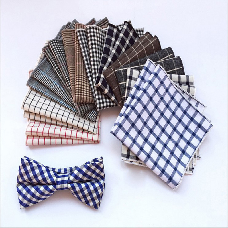 Suit Pocket Square Men's Handkerchief Check Plaid Fashion Cotton Plaid Suit Dinner Pocket Towel Square Towel Small Handkerchief
