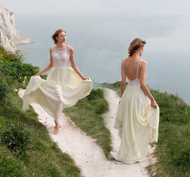 On Sale Chiffon Long Vintage Wedding Dresses 2016 Open Back ...