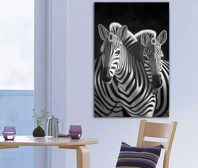 Free Shipping New Product Animal Painting Abstract Zebra Wall Art Decor  Black White Pop Art Prints