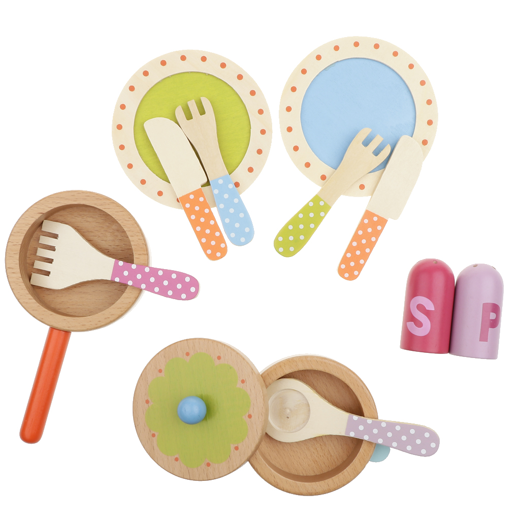 Wooden Pretend Play Kitchen Dishes Toy