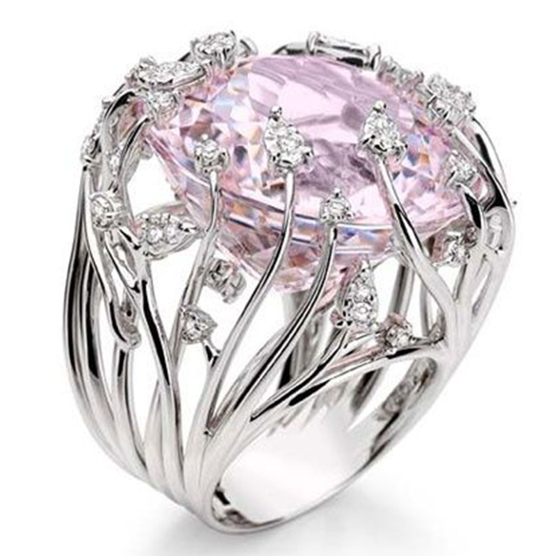 Pink Stone Anniversary Ring Charm Silver Color Ring White Crystal Wedding Rings for Women Jewelry Anillos Mujer Bague O5P008
