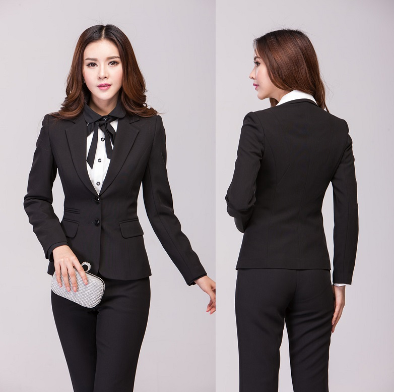Formal Pantsuits Professional Business Blazers Set For Women Work Wear Uniform Style Blazer And ...