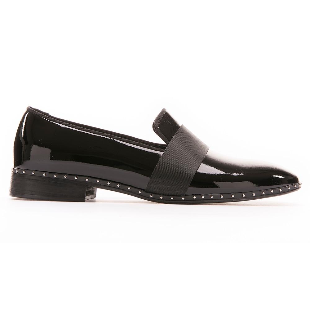 Marca Moda Hecho Partido Black Vestir Hebilla La Shoes Pisos A Lujo De Hombres Mocasines Con Mano Negro Zapatos Los Boda Europa Y Charol 8P1q8r