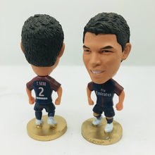 Soccerwe Thiago Silva Doll PSG2# Football Team 2018 Home Blue Kit Sports Defender Figure 2.6 Inches Height Resin(China)