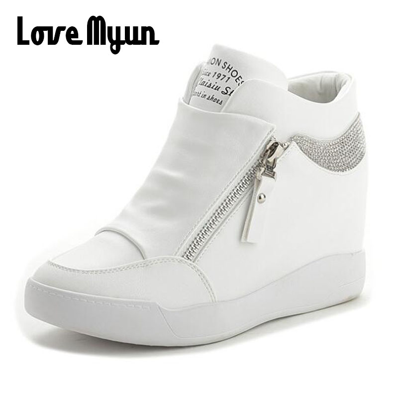 Fashion Sneakers Womens Leather Height Increasing Boots Women High Heel Black White  Bling Zipper Platform Wedge Shoes WW-24