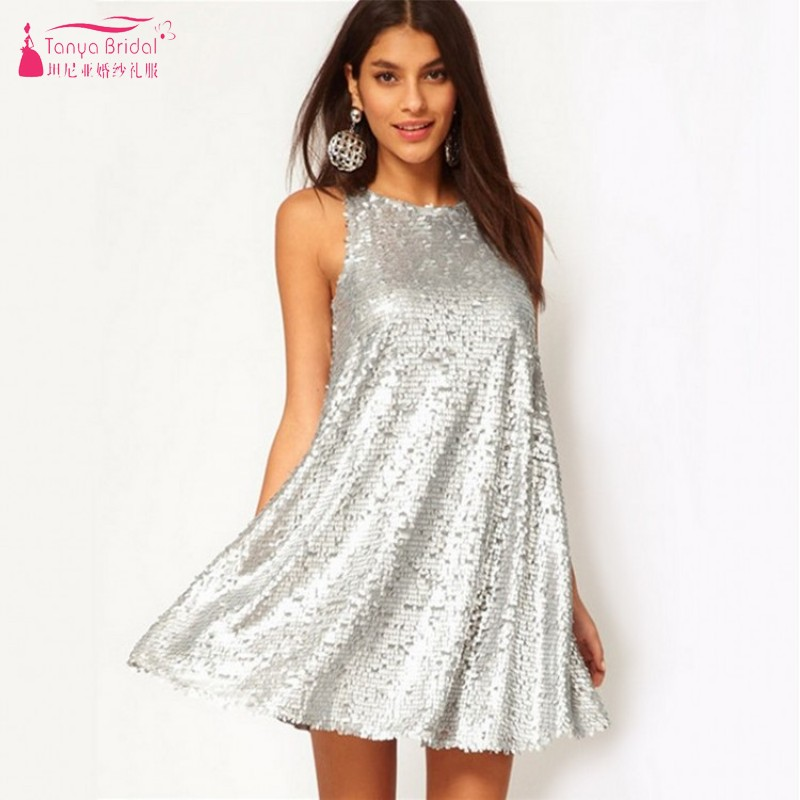 TANYA Silver Sequins Short Mini   Cocktail     Dresses   A Line Sexy Simple Women Party Gown In Stock JQ229