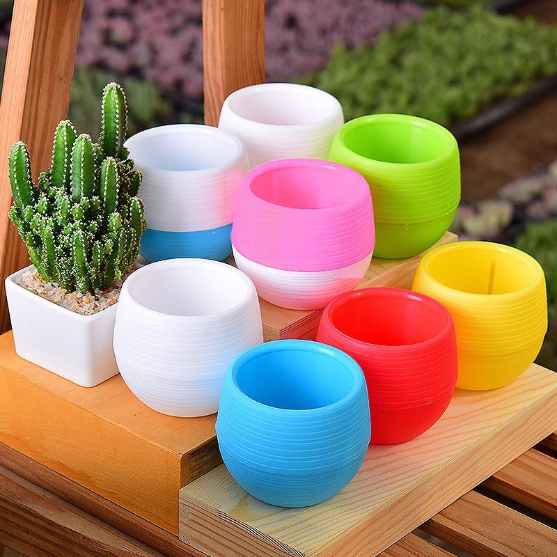 Mini Colourful Round Plastic Plant Flower Pot Garden Home Office Decoration Planter Desktop Flower Pots Dropshipping