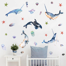 Beautiful Whale with Angle Undersea Wall stickers Room Decor Art Vinyls Decals for Children Kids Bedroom Living Home Mural