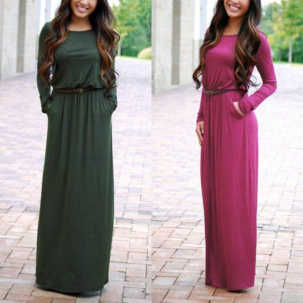 2017 women autumn winter long sleeve maxi dress lady o ...