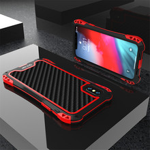 Armor Case for Iphone Xs Xs Max Xr X Luxury Metal Frame Silicone Bumper Hybrid Shockproof 360 Full Protection Carbon Fiber Cover