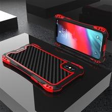 Caso armadura para iphone xs xs max xr x luxo metal quadro silicone amortecedor híbrido à prova de choque 360 proteção completa capa de fibra carbono