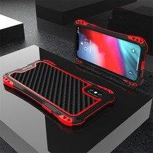 Rüstung Fall für Iphone Xs Xs Max Xr X Luxus Metall Rahmen Silikon Bumper Hybrid Stoßfest 360 Volle Schutz Carbon faser Abdeckung